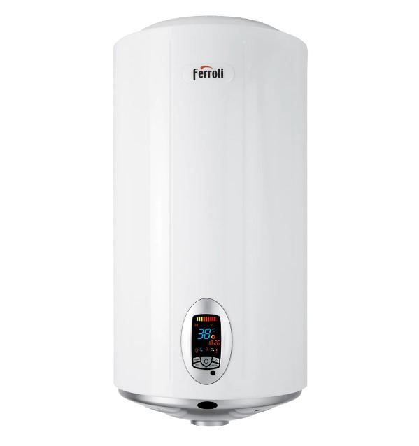 Boiler electric Ferroli TDG Plus 100, 2500 W, 100 l, 3 trepte putere, panou comanda digital, functie Smart, telecomanda
