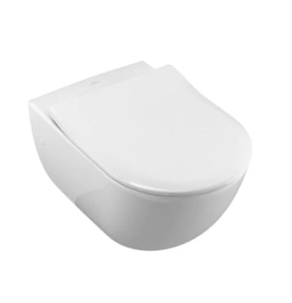 Set vas WC Villeroy & Boch, Avento Direct Flush, suspendat si capac slim, alb